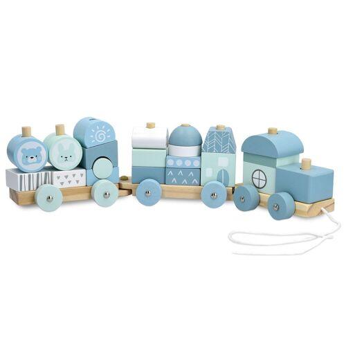 Navaris Spielzeug-Zug, Holzzug Spielzeug für Mädchen und Jungen - Zug Lokomotive aus Holz mit Würfel - Eisenbahn inkl. Holzbausteine - Holzeisenbahn zum Nachziehen, pastellblau
