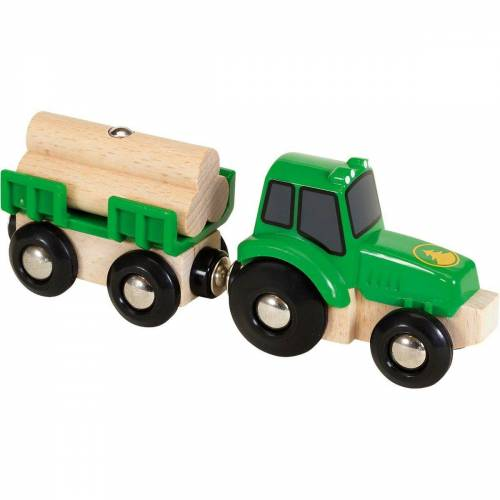 Brio Spielzeug-Eisenbahn »Traktor mit Holz-Anhänger«