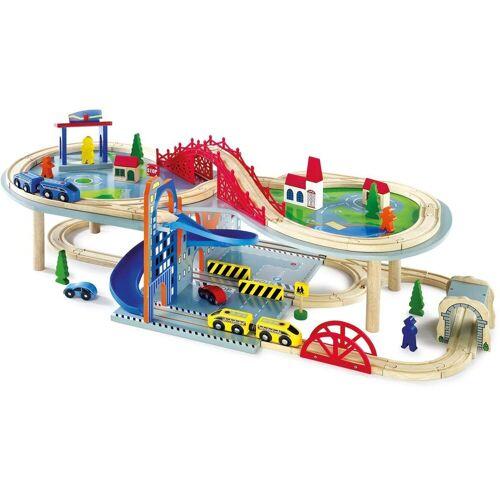 Small Foot Spielzeug-Eisenbahn »Doppelstöckige Eisenbahnlandschaft mit Zubehör«