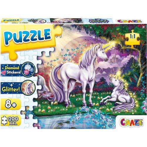 CRAZE Puzzle »Puzzle mit Glitzerdruck - Mystic Lake, 200 Teile -«, Puzzleteile