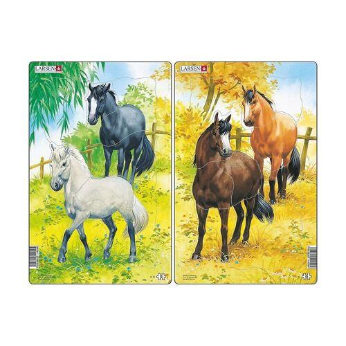 Larsen Puzzle »2er-Set Rahmen-Puzzle, 10 Teile, 28x18 cm, Pferde«, Puzzleteile