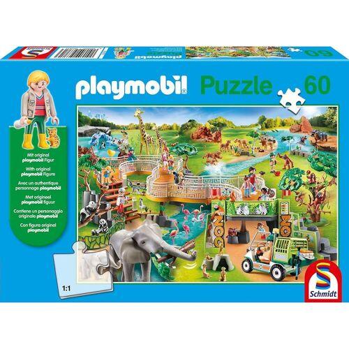 Schmidt Spiele Puzzle »Puzzle PLAYMOBIL® inkl. Playmobil-Figur, Zoo, 60«, Puzzleteile