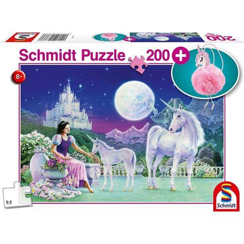 Schmidt Spiele Puzzle »Puzzle Einhorn, 200 Teile + Puschel-Anhänger«, Puzzleteile