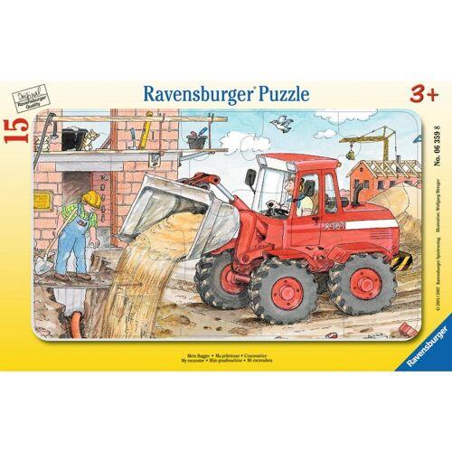Ravensburger Rahmenpuzzle »Mein Bagger - Rahmenpuzzle«, 15 Puzzleteile