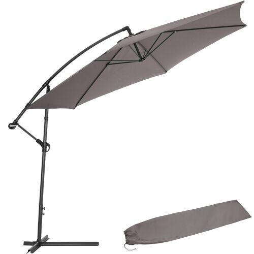 tectake Sonnenschirm Ampelschirm Ø 350cm mit Schutzhülle - grau