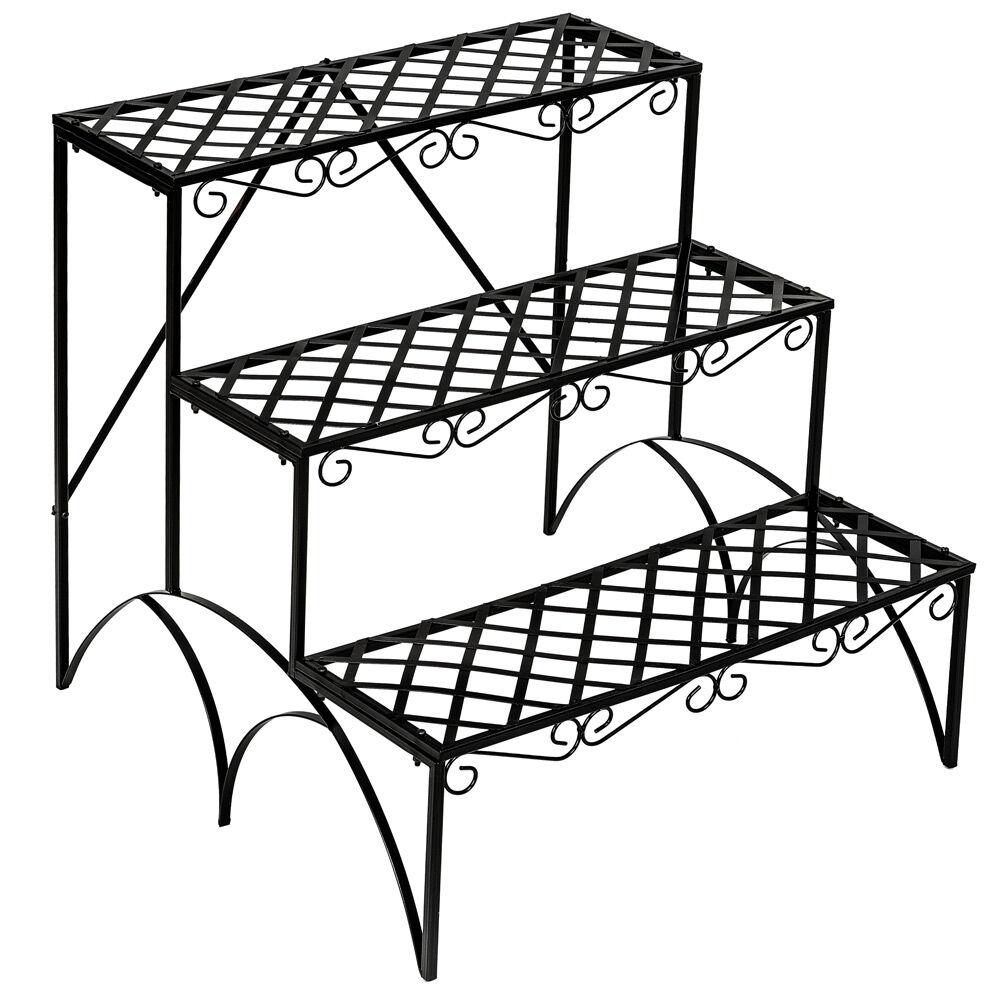 tectake Blumentreppe mit 3 Stufen eckig - schwarz