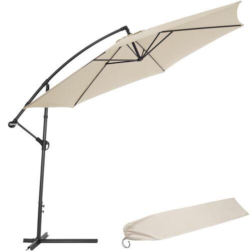 tectake Sonnenschirm Ampelschirm Ø 350cm mit Schutzhülle - beige