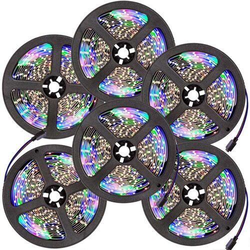 tectake 6 LED-Strips mit 300 LEDs, 5m Länge - weiß