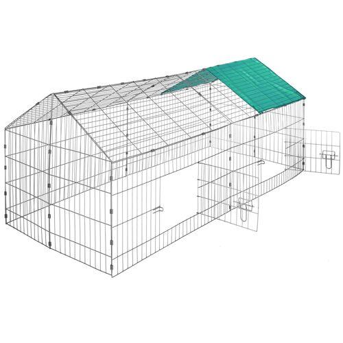 tectake Freigehege Kaninchen inkl. Sonnenschutz 180 x 75 x 75 cm - grün