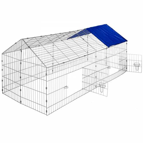 tectake Freigehege Kaninchen inkl. Sonnenschutz 180 x 75 x 75 cm - blau