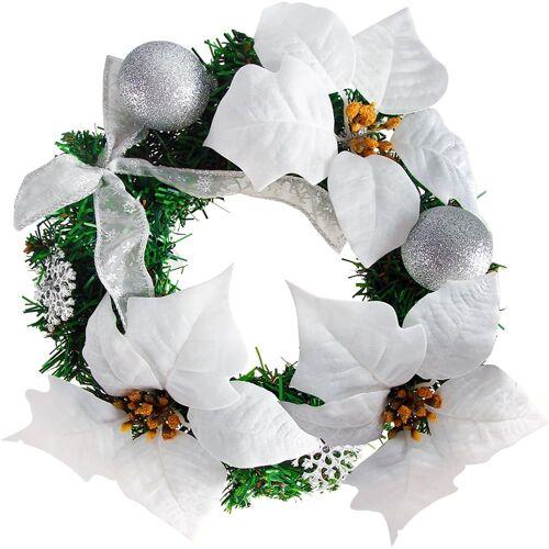 Deuba® Weihnachtskranz Weiß Ø22cm