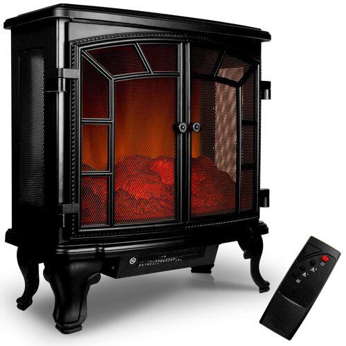 Deuba® Elektrischer Doppeltür-Kamin mit Heizlüfter und Kaminfeuer-Effekt