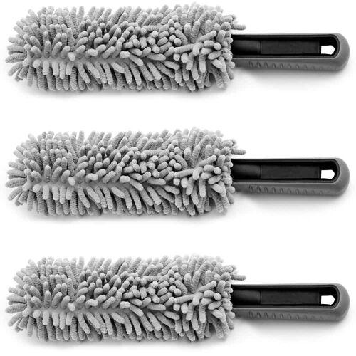 monzana® Felgen-Reinigungsbürste 3er-Set Grau Microfaser 34cm