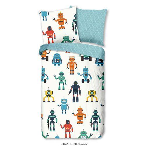 Wende-Kinderbettwäsche Robots aus Baumwolle ca.135x200cm