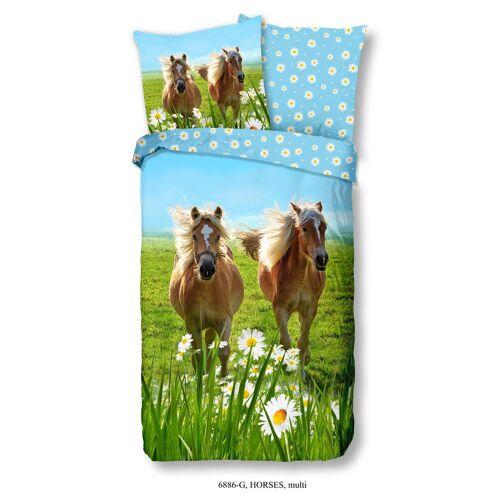 Wende-Kinderbettwäsche Pferde ca. 135x200cm