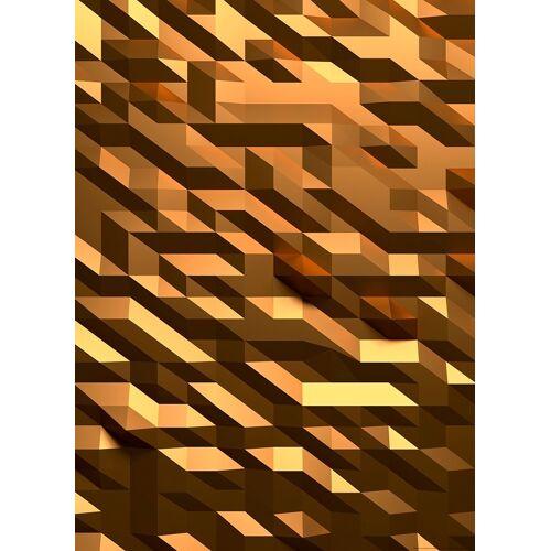 IDEALDECOR Fototapete 3D Kristall Gold BlueBack 2 Bahnen 183 x 254 cm  bunt