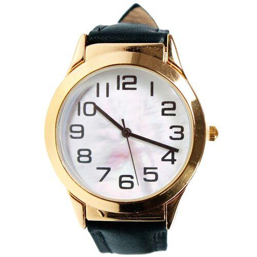 Armbanduhr mit Lupe  schwarz