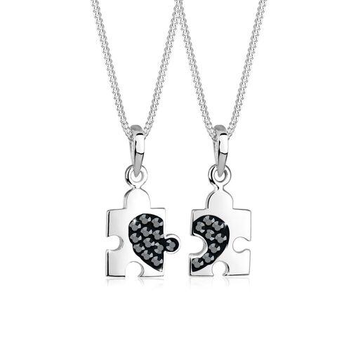 Elli Ketten-Set Set Partner Puzzle Swarovski Kristalle 925 Silber 45 schwarz