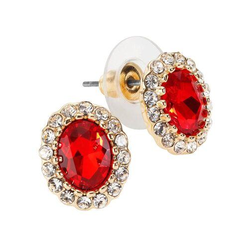 Lady Set mit vielen Kristallsteinen  rot