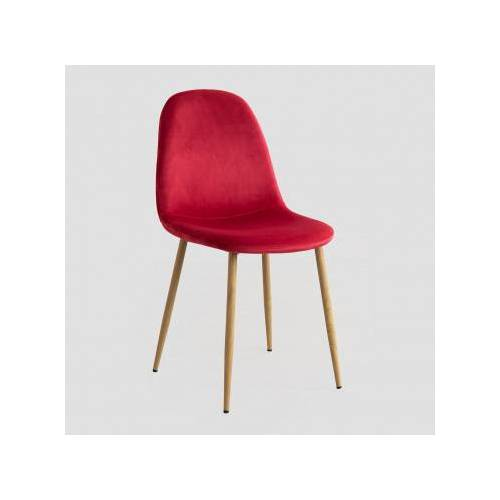 SKLUM Stuhl aus Samt Glamm Rot & Natürliches Holz Sklum