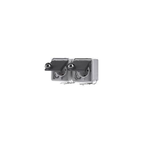 GIRA 078730  - Steckdosen-Set gr abschliessbar,AP-WG. 078730