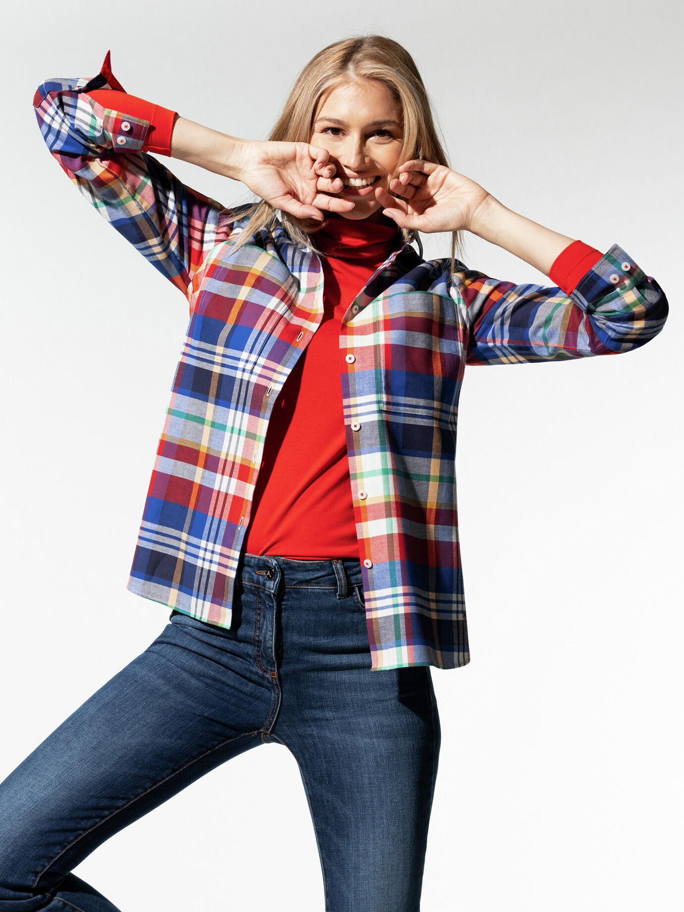 Walbusch Damen Hemd-Bluse normale Größen Rot kariert 50 wärmend