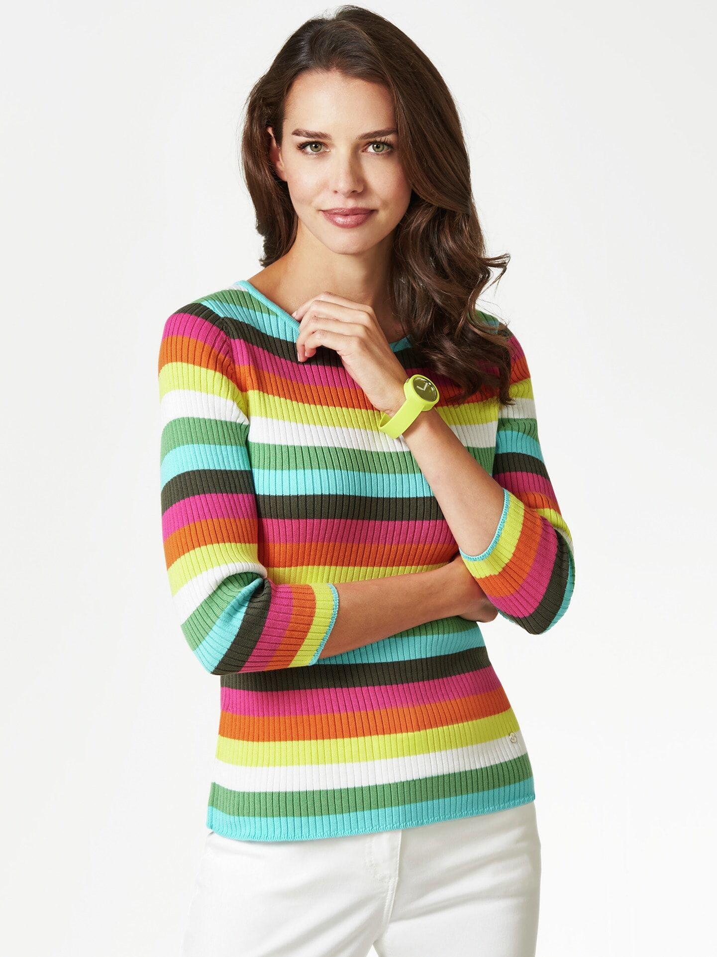 Walbusch Damen leichter Pullover Pima-Cotton normale Größen Grün gestreift 44