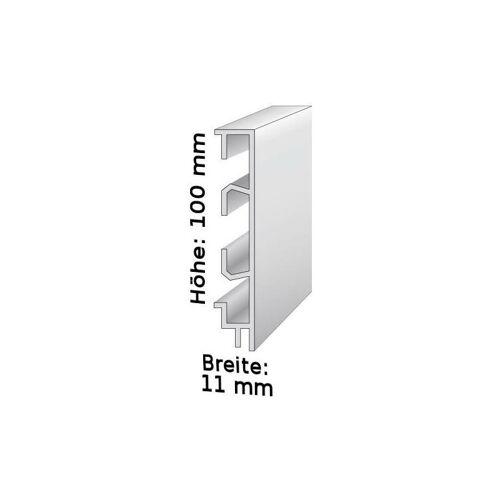 Auer - Sockelleiste mit Kabelkanälen, Höhe: 60 mm, Breite: 15 mm, Aluminium (silber eloxiert), Typ: 465