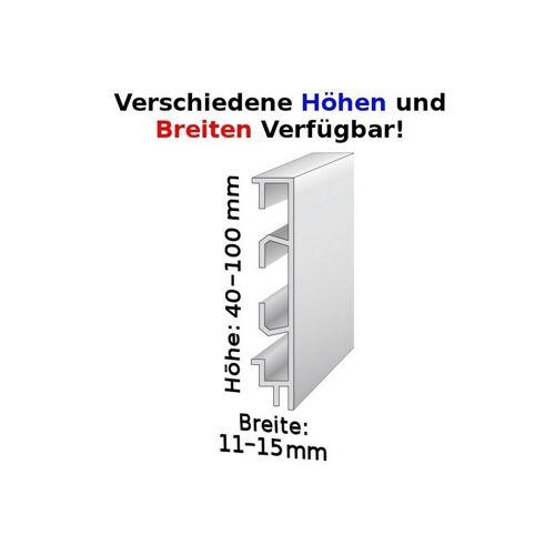 Auer - Sockelleiste mit Kabelkanälen, Höhe: 100 mm, Breite: 11 mm, Aluminium (silber eloxiert), Typ: 465