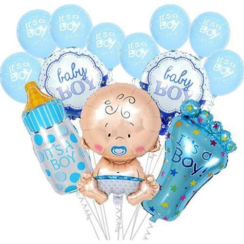 DONTODENT 13pcsBabypartydekorationen für Jungen, es ist ein Junge Ballon, es ist ein Junge Folienballon Set Große Babyflasche Füße Ballon Babyparty Geburtstag