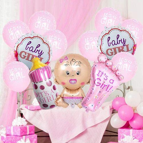 DONTODENT 13pcsBabypartydekorationen für Mädchen, es ist ein Mädchenballon, es ist ein Mädchenfolien-Latexballon-Set Große Babyflasche Füße Ballon Babyparty