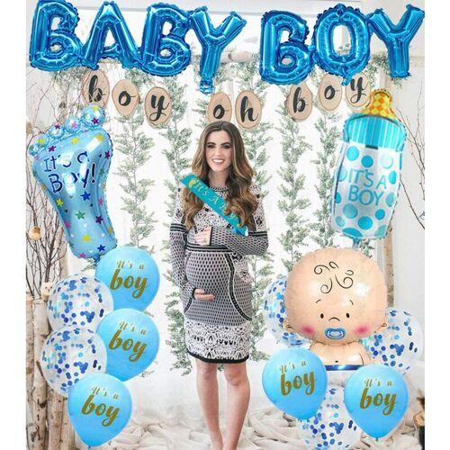 DONTODENT Babyparty-Dekorationen für Jungen - Es ist eine Jungen-Babyparty-Dekoration, es ist eine Junge-Schärpe, Baby-Folienballons, großer