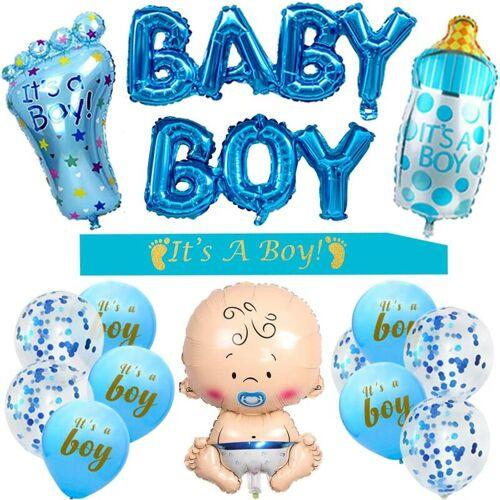DONTODENT Babyparty-Dekorationen für Jungen - Es ist eine Jungen-Babyparty-Dekoration, es ist eine Jungenschärpe, Baby-Folienballons, großer