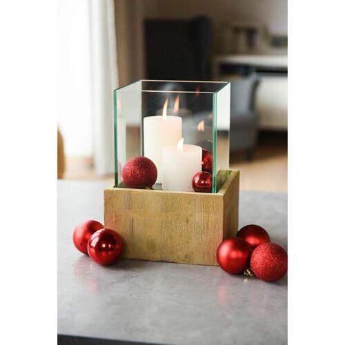 VIVANNO Deko-Windlicht Kerzenhalter viereckig Holz CANDELITA Braun