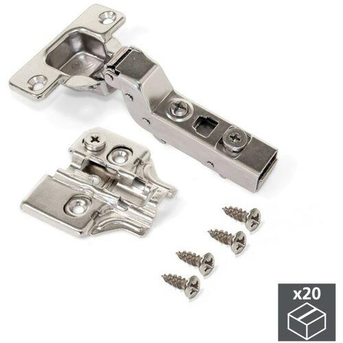 Emuca Topfscharnier, D. 35 mm, innenliegend, Öffnung 100º, mit Montageplatte, 20 St.