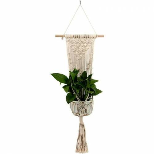 Bares - handgeflochtene Hängepflanze Blumentopf Korb Seil Bonsai Aufhänger für Garten