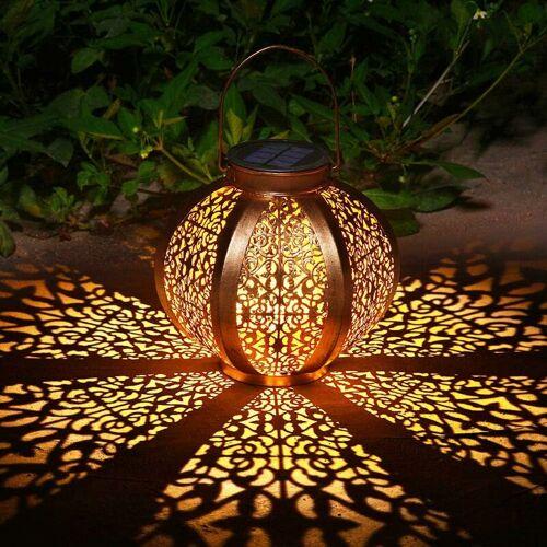 BRIDAY Solar-Garten-Laterne Outdoor-Dekor wasserdicht Solar-Terrassen-Licht dekorative Metall-Terrassen-Lampe für Rasen-Terrasse-Party-Dekorationen (A)