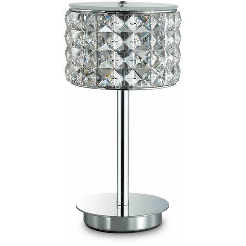 01-IDEAL LUX 1-Licht Chrom Kristall ROMA Tischlampe