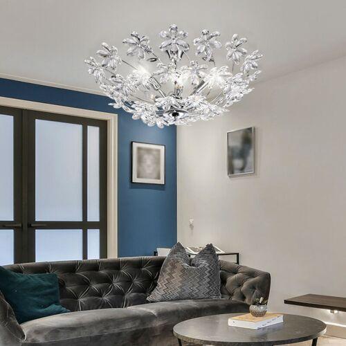 ETC-SHOP Deckenlampe Blumen Kristall Deckenleuchte silber Wohnzimmer Deckenlampe Kristall, aus Chrom und klaren Kristallblüten, 6x E14, DxH 67 x 31 cm