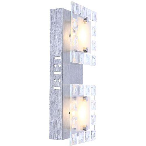 LION LICHT ON LED Wandleuchte Glas Wohnzimmerleuchte Kristallampe Esszimmer, 2x 5W 500lm 3000K, LxH 28 x 6,5 cm