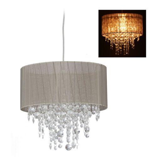 Relaxdays - Hängelampe Kristall, Lampenschirm aus Organza, E27, Wohnzimmer, Pendellampe, HxD: 129 x 32 cm, grau/silber