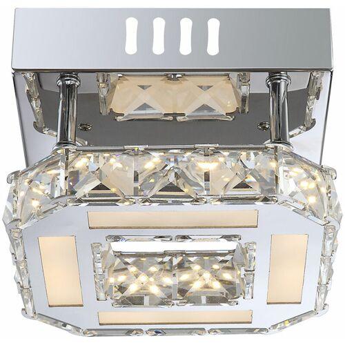 Globo LED Deckenleuchte Chrom Wohnzimmerleuchte Kristallampe Deckenlampe quadratisch, 1x 8W 760lm 4000K, LxH 16x 10,4 cm