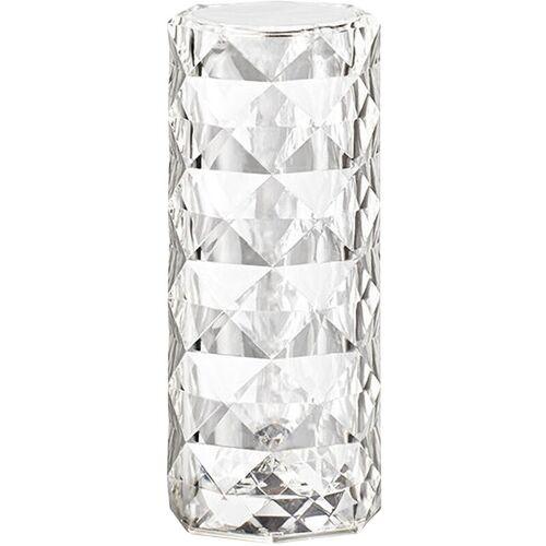 HAPPYSHOPPING Kristall Schreibtischlampe Transparent Rose Shadow Tischlampe S?ulenf?rmige Kristall Schreibtischlampe Zylindrische Atmosph?re Nachttisch Kristall