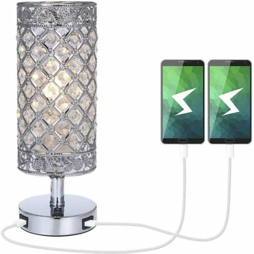 Zqyrlar - Kristalllampe, Kristall Nachttischlampe, Dual USB wiederaufladbar, Kreative Mode Kristall Silber Tischlampe, für Hotel Wohnzimmer