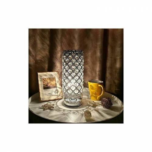 LITZEE Kristalllampe, Lampenschirm Nachttischlampe, kreative Mode Kristall Silber Tischlampe, Für Hotel Schlafzimmer Wohnzimmer Bücherregal Kommode (ohne