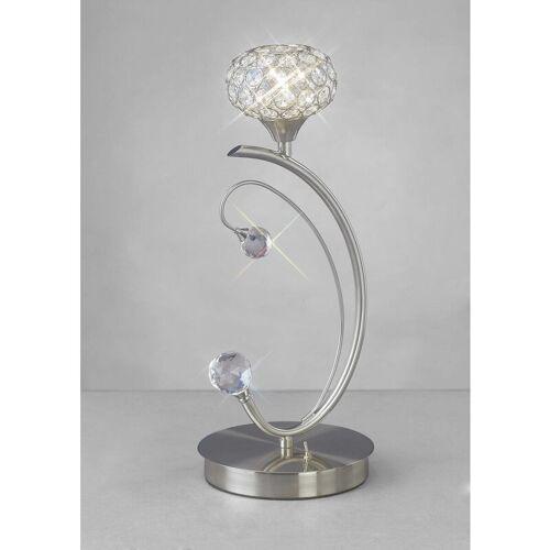 09-DIYAS Tischlampe Cara 1 Birne Satin Nickel / Kristall