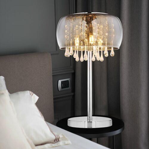 ETC-SHOP Tischlampe mit Kristallen Tischleuchte Glas rauch Nachttischlampe Kristall Tischleuchte Vintage Retro, 3x G9, DxH 27x40 cm