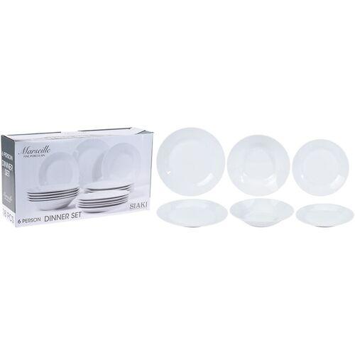 WURKO Geschirrset 18 Stück weißes Porzellan EDM 76725
