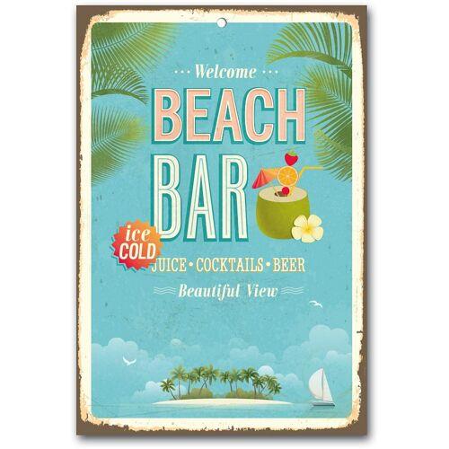 Home affaire Metallbild Beach Bar, Maße (B/H): ca. 30/45 cm B/H/T: 30 x 45 0,4 blau Metallbilder Bilder Bilderrahmen Wohnaccessoires