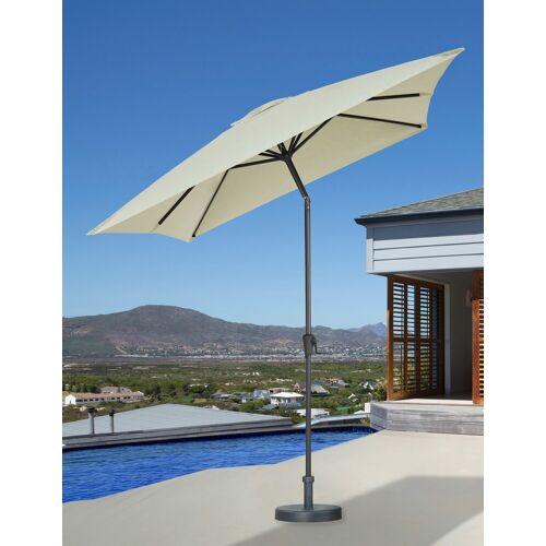 garten gut Sonnenschirm, abknickbar, ohne Schirmständer 300x200 cm weiß Sonnenschirm Sonnenschirme -segel Gartenmöbel Gartendeko